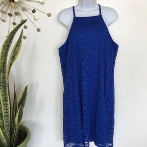 Nine West blue lace trapeze shift dress size 14